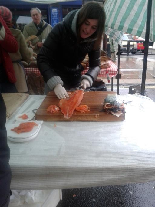 Smoked salmon stall