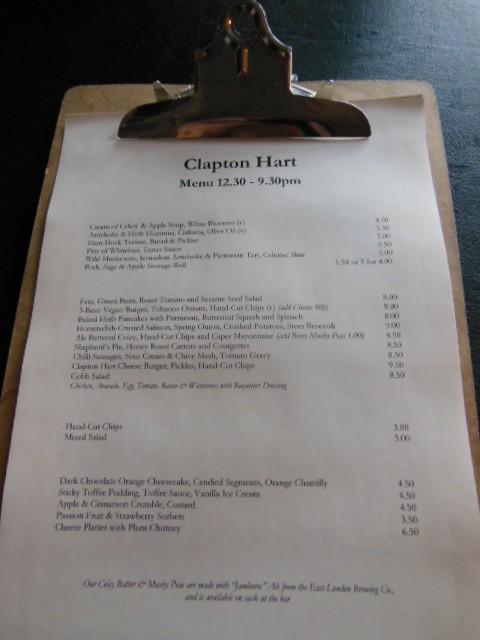 Clapton Hart menu today