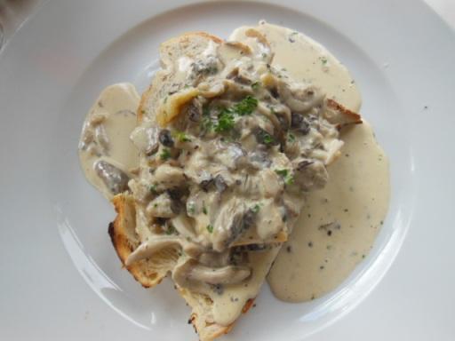 Creamy wild mushrooms and polenta on garlic toast