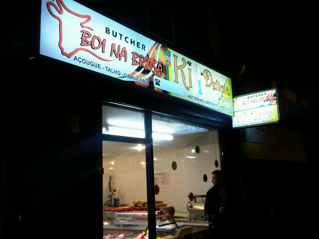 Brazilian shop at night
